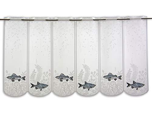 Clever-Kauf-24 Scheibengardine Fische Hecht Höhe 60cm | Aquarium Wasser | Breite der Gardine frei wählbar in 17cm Schritten | Gardine | Panneaux |
