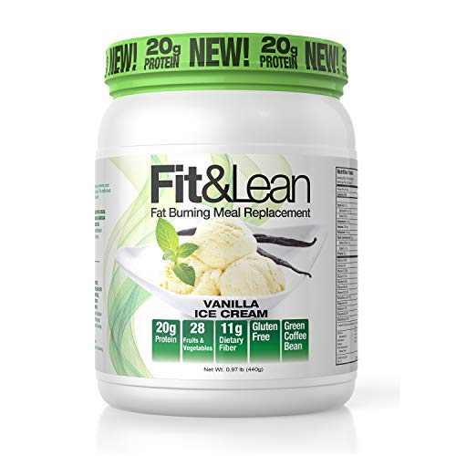 Fit & Lean Fat Burning Meal Replacement Shake with Protein, Fiber, Probiotics and Organic Fruits & Vegetables and Green Tea for Weight Loss, Vanilla, 1lb, 10 Servings Per Container