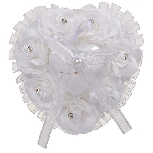 ZHSH Ringkissen für Hochzeit, Spitze, Kristall, Rose, Herzform, Hochzeitszubehör