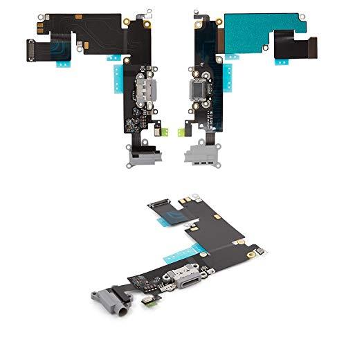 Flex Cable Reparación Piezas de Repuesto Compatible con iPhone 6 Plus (conector de auriculares, conector de carga, negro, con micrófono, con componentes)