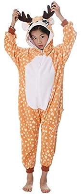 Silver Basic Niños Unicornio Onesie Pijama Franela Cosplay Disfraz Niños Niñas Mujer Kigurumi Animales Franela Monos Unisex-Adulto Ropa de Dormir S,Ciervo-2