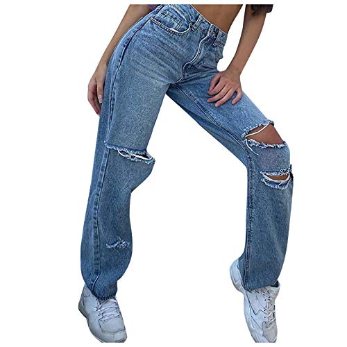 MASZONE Y2K Fashion Jeans for Women Patchwork Straight Jeans High Waisted Wide Leg Denim Pants Stretch Slim Fit Trousers