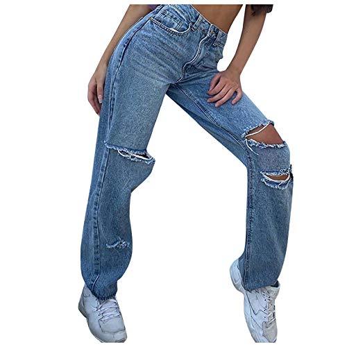 Pantalones vaqueros para mujer, pantalones de mezclilla sueltos para verano y vacaciones