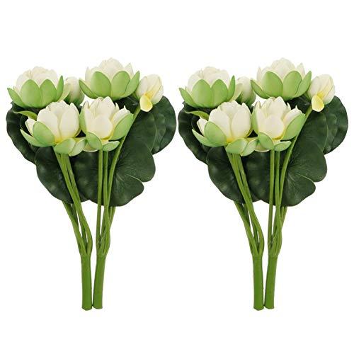 BESPORTBLE 2 Stücke Künstliche Lotusblume Wasserlilie Schwimmend Kunststoff Lotusblüte Seerose für Garten Pool Aquarium Dekoration Ornament Weiß 31x15x13cm
