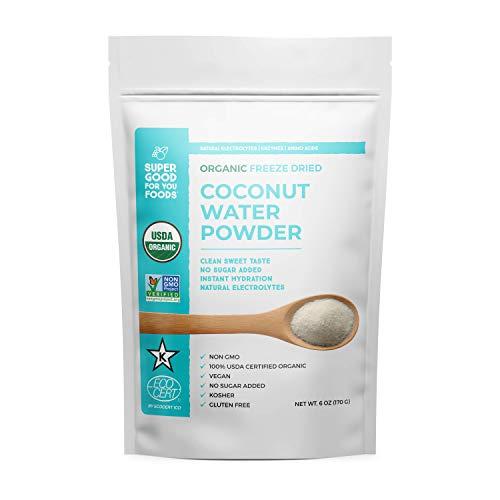 Super Good For You Foods Freeze Dried Coconut Water Powder, USDA Certified Organic, Gluten-Free, Non-GMO, Vegan, No Sugar Added, Kosher, 6 oz