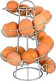 Egg Skelter Deluxe Modern Spiraling Dispenser Rack, Silver