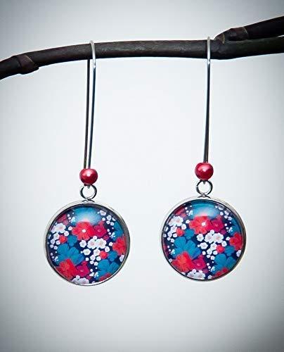 Boucles d'oreilles pendantes bohème, feuille rouge turquoise blanc, longues dormeuses acier inoxydable argent