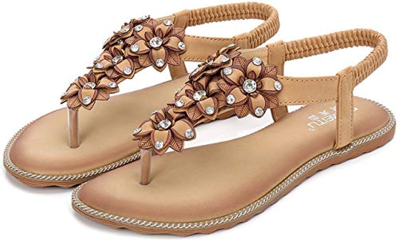 Women's Summer Low Flat Open Toe Sandals Bohemia Rhinestone Flower Bead Folk Sandals Boho Beach Flip Flops Elastic T-Strap Clip On Post Thong