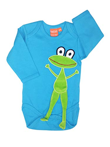 Lipfish Body à Manches Longues avec des Animaux appliqués, Dessin Suédois, 100% Coton Turquoise Frog, 1-3 Mois.