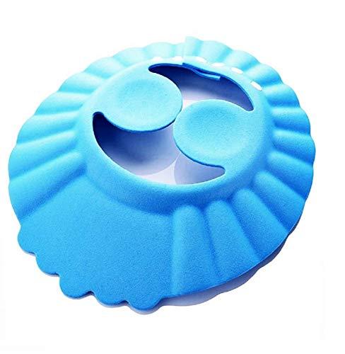 Bonnet de bain - enfant - salle de bain - confortable - douche - protection oculaire - oreilles douces - bonnet bébé pour douche et bain - réglable - idée cadeau originale bleue - colorée