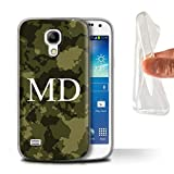 eSwish Personnalisé Camouflage Militaire Personnalisé Coque Gel/TPU pour Samsung Galaxy S4 Mini/Verte Forêt Boisée Design/Initiales/Nom/Texte Etui/Housse/Case