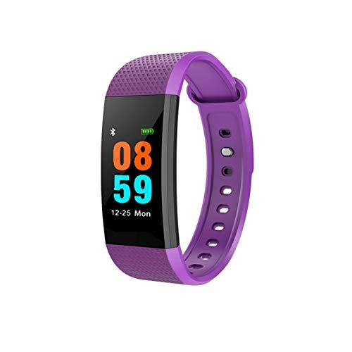 YNLRY Pulsera inteligente con monitor de ritmo cardíaco, presión arterial, podómetro, resistente al agua, banda inteligente, reloj deportivo para iOS Android (color: púrpura)