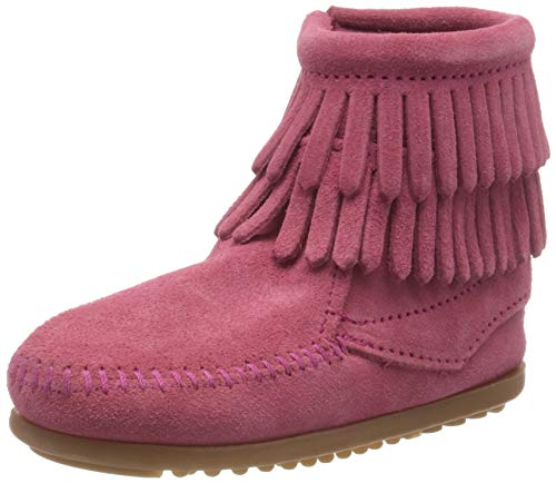 Minnetonka Double Fringe Side Zip Mädchen Kurzschaft Mokassin Boots, Pink (Hot Pink / PINK), 28 EU