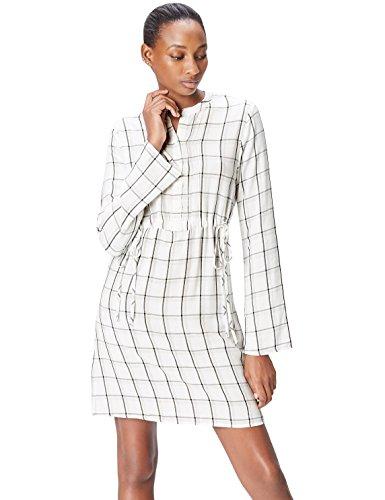 Marca Amazon - find. Vestido Camisero Mujer, Multicolor (Ivory Mix), 36, Label: XS