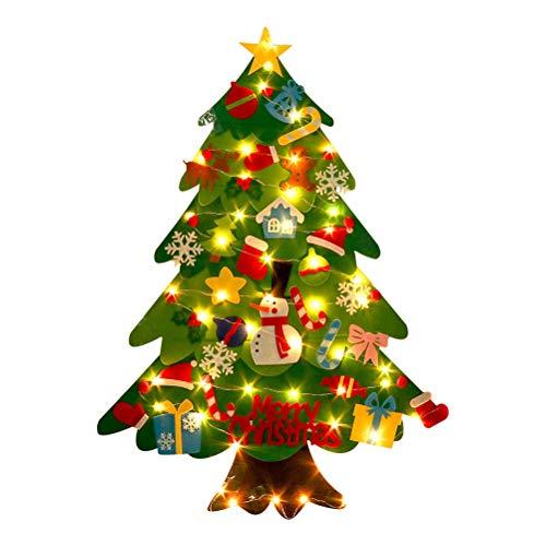 CaCaCook Árbol de Navidad de Fieltro, árbol de Navidad de Fieltro con Adornos Desmontables para niños pequeños, 20 Luces LED, decoración de Pared Colgante para año Nuevo