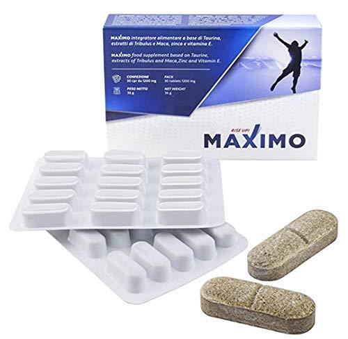 MAXIMO® Integratore Energizzante Uomo | Ultra Forte Effetto Immediato | Migliora Prestazioni, Vigore e Resistenza | Taurina Maca Tribulus | 1200Mg | 100% Naturale No Glutine Lattosio | Made in Italy