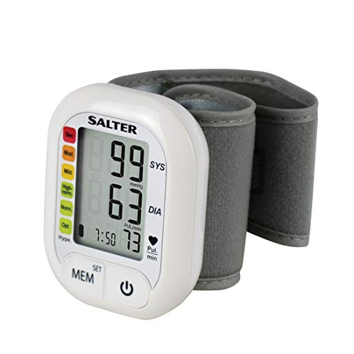 Salter Tensiómetro automático para la muñeca, Corazón Impacto Detector, 60puestos de memoria, Blanco