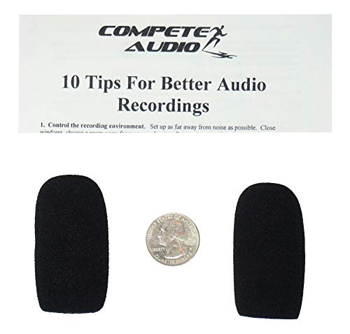 Compete Audio CA555 large foam microphone windscreens (Microphone Covers) (2-pack) for use with mini-shotgun mics, larger headsets and desktop microphones