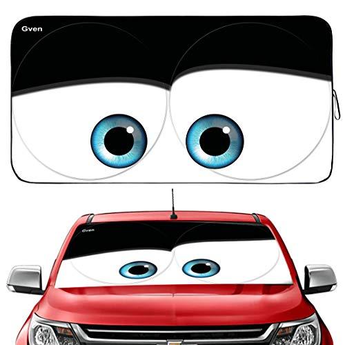 Gven Windshield Shade, Car Sun Shade for Front Windshield Funny Car Eyes Sunshades Sun Visor Protector Blocks UV Rays Foldable 210T Keep Your Vehicle Cool