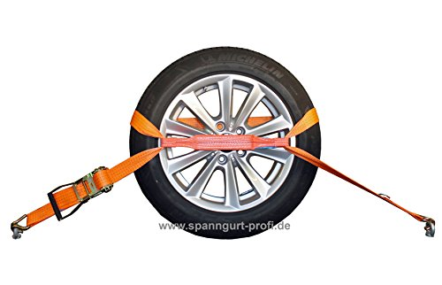 SHZ 4X Spanngurt Auto Transport 50mm Radsicherungsgurt Autotransportgurt Reifengurt (28) - Made in Germany