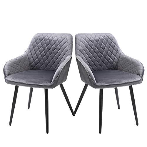 Sigtua Silla de Comedor Juego de 2 Sillón de Relajación Gris Sillas Tapizadas en Terciopelo con Patas de Metal Dining Chairs