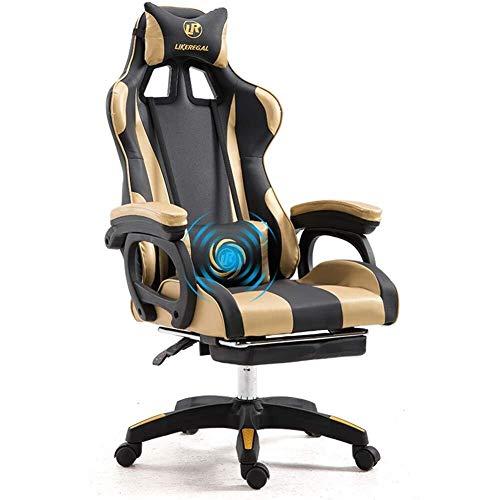 TYXL gaming chair Weew PC Racing Gaming Chair Bürostuhl Computer-Schreibtisch-Spiel-Stuhl, Carbon-Faser PU-Leder mit hohem Zurück Ergonomic 150 Grad justierbarer Drehstuhl mit Kopfstütze und Rückenstü