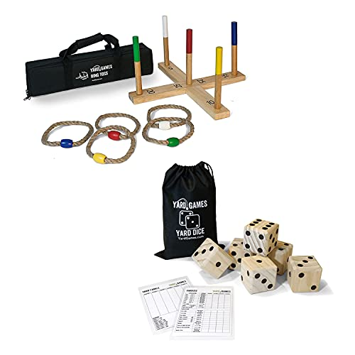 Yard Games Portable Outdoor Playground Wooden Ring Toss Game w Carrying Case Bundle w Giant Outdoor Indoor Wooden Dice Set w Scorecards & Case