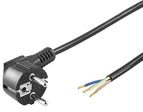 PremiumCord Netzkabel 230V 2m, CEE 7/7 Schuko Stecker abgewinkelt zu offenem Kabelende, 3 Kabelenden freigelegt, Farbe schwarz