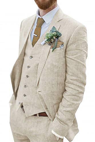Retro Beige Linen Men Suit Casual Wedding Suit for Men Notched Lapel Slim Fit 3 Pieces Jacket Blazer Groom Tuxedo be-s