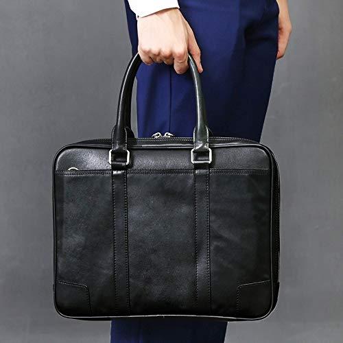 MFENG STORE Horizontal Square Waterproof Genuine Leather Zipper Handbag Business Bag for Men(Black) (Color : Black)