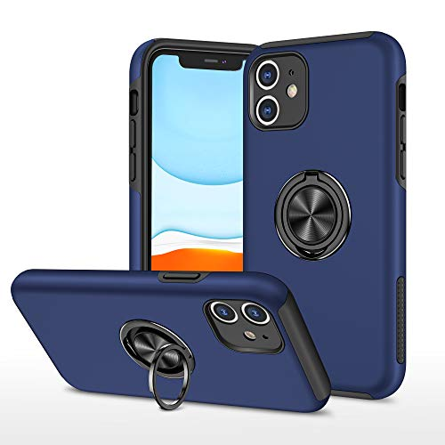EYZUTAK Case for iPhone 12 6.1 inch, 360 Degree Rotation Magnetic Metal Finger Ring Holder Magnet Car Holder Inner Silicone with Camera Protection Glossy Anti-drop Hard Cover - Blue