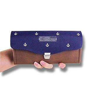 Anker Klapp Portemonnaie Blau/Braun Groß, Nachtblau mit weißen Ankern, Geldbörse in Kunstleder und Segeltuch für Damen…