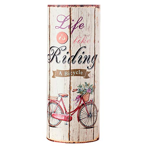 Rebecca Mobili Regenschirm Schirmhalter Leinwand beige rund Life is Riding Retro Flur (Cod. RE4760)