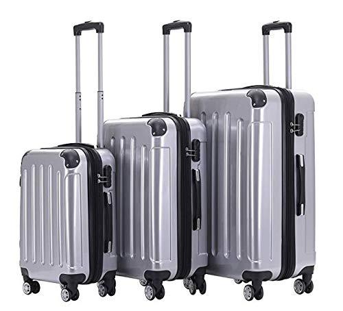 Juego de maletas con ruedas (3 piezas, ultraligeras, 4 ruedas, plegables, 75, 63, 55 cm), color plateado