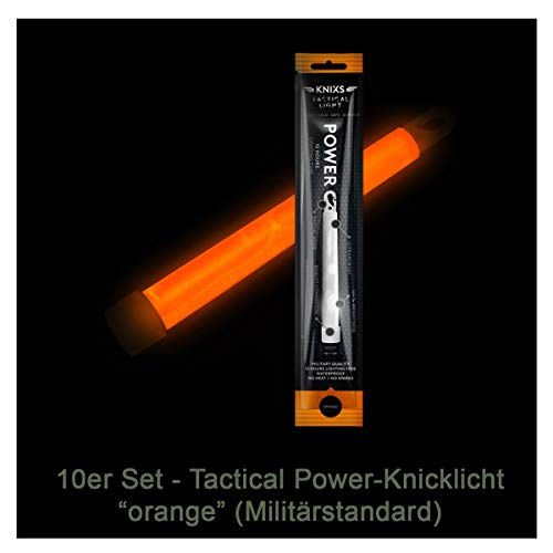 10er Set - Power-Knicklicht/Leuchtstab Tactical Light im Militär-Standard - orange leuchtend (6