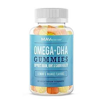 MAV Nutrition Fish Oil Omega 3 Gummies as DHA + Brain Supplement to Support Brain Joint & Cardiovascular Health Natural Flavors Aids Immune Health 60 Vegetarian Friendly Gummies