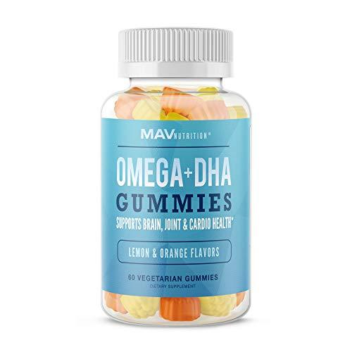 MAV Nutrition Fish Oil Omega 3 Gummies as DHA + Brain Supplement to Support Brain, Joint & Cardiovascular Health, Natural Flavors, Aids Immune Health, 60 Vegetarian Friendly Gummies