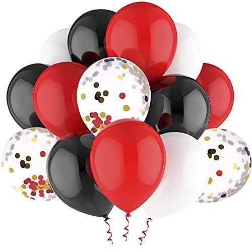Hicarer 20 Piezas Globos de Confeti Rojo Negro Incluye Globos Blancos Rojos Negros de 10 Pulgadas con Cinta de Globos y Globos de Confeti de Látex de 12 Pulgadas para Suministros de Fiesta