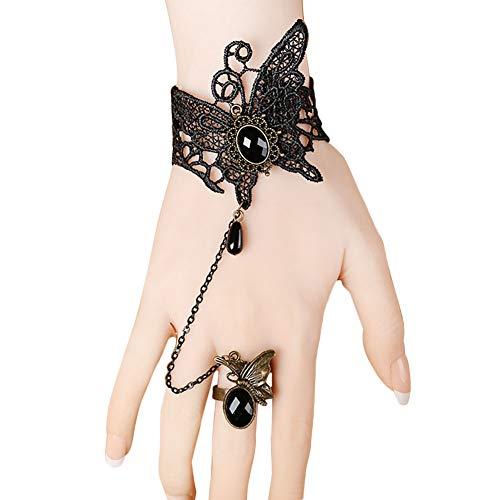 Demarkt Schmetterlingform Armband Gothic Handstulpe Gothic Spitze Armreifen mit Ring für Frauen Mädchen