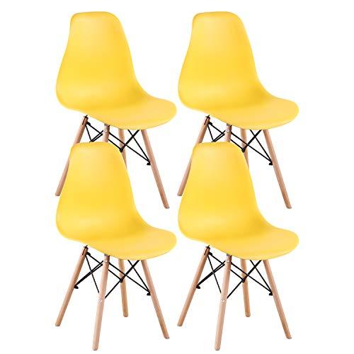 INJOY LIFE - Sillas de comedor modernas de mediados de siglo, sillas de plástico estilo retro, sillas laterales para cocina, salón comedor, juego de 4, color amarillo