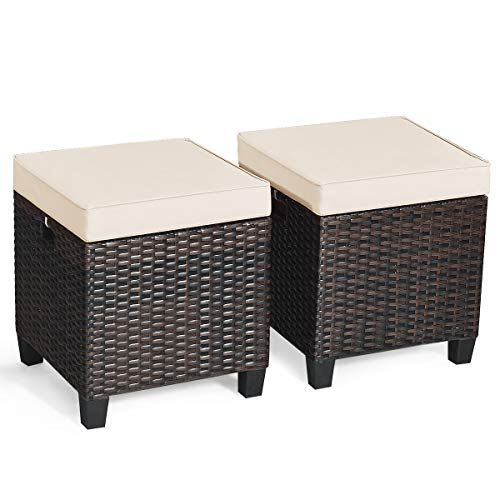 Tangkula 2 Pieces Outdoor Patio Ottoman, All Weather Rattan Wicker Ottoman Seat, Patio Rattan Furniture, Outdoor Footstool Footrest Seat w/Removable Cushions (Cream)