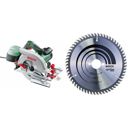 Bosch - PKS 66 AF - Sierra circular + 2 608 641 188 - Hoja de sierra circular Optiline Wood - 190 x 30 x 2,6 mm, 60 (pack de 1)