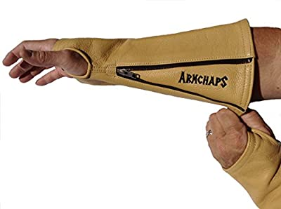 Arm Chaps Leather Protective Arm Guard Sleeves to Prevent Cuts, Scratches, Bruising & Protect Thin Skin. For Male & Female all ages. Tan (1 Pair/XS). Left & Right form-fitting.
