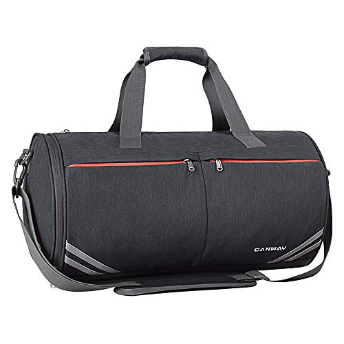 Sport Gym Bag, Canway 30L Sport Duffel Bag for Men Women, Travel Weekender Bag with with Wet Pocket & Shoes Compartment, Adjustable Shoulder Strap Included, Black