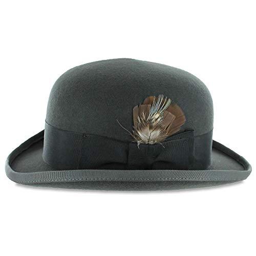 Belfry Tammany - Satin Lined 100% Wool Derby Hat Grey (Large)