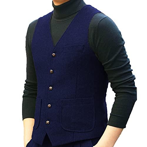BYLUNTA Chaleco clásico para hombre con cuello en V para tweed de boda retro padrino S-3XL