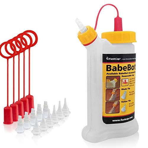 Botella de cola original BabeBot de FastCap, perfecta para una aplicación limpia y precisa de cola de madera, dispensador de cola (aprox. 120 ml) (BabeBot + accesorios)