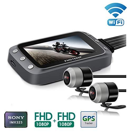 DUIOP Dashcam, WiFi Motocicleta DVR Dash CAM 1080P + 1080P Full HD Vista Trasera Delantera Impermeable Moto Cámara GPS Logger Grabadora Caja