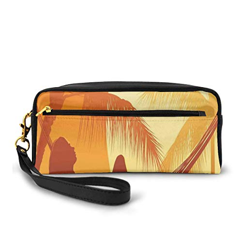 Pencil Case Pen Bag Pouch Stationary,Silhouette of Sexy Woman Lying In A Hammock At Majestic Sunset View Dream Print,Small Makeup Bag Coin Purse