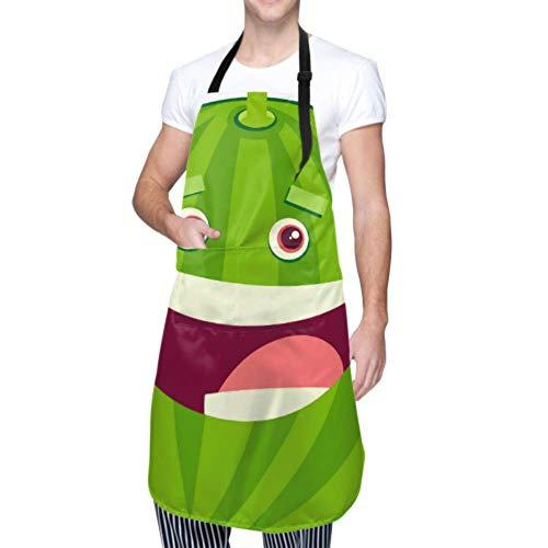 LINPM Unisex Schürze, wasserdicht langlebig verstellbar Cartoon Wassermelone Frucht Charakter Vektor Kochschürzen Plus Size Schürze für Geschirrspülen BBQ Grill Restaurant Garden